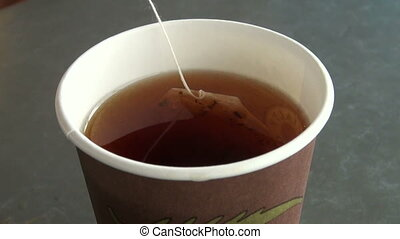 A tea bag in hot water