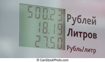 fuel counter on car service station