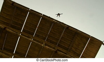 Jumping from a height, jumps with a cord