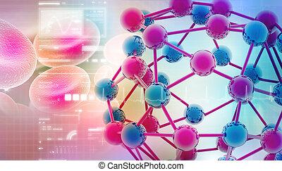 digital, Ilustración, Moléculas