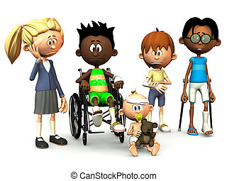 Five injured cartoon kids - Five cartoon kids with different...