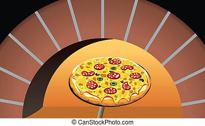 vector italian pizza in oven