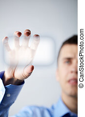 Security system - Close-up of businessman hand holding...