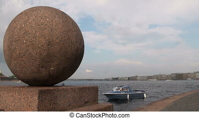Granite ball on the waterfront