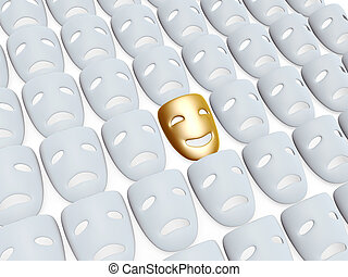 comedy and tragedy masks - gold comedy one in tragedy masks...