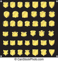 Golden shields Vector elements for design