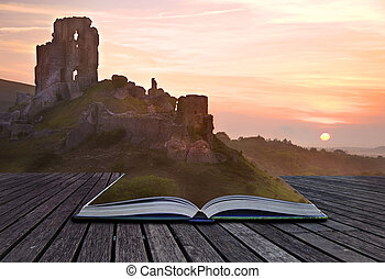 Creative concept image of romantic fairytale castle ruins...