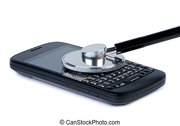 Mobile phone with stethoscope, concept of diagnosis and service. Objects isolated on white background, shadow below.