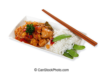 Tasty oriental dish - Close up of plate with tasty oriental...