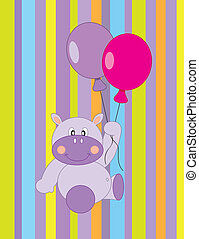 Flying in a balloon hippo