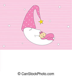 baby girl sleeping on the moon