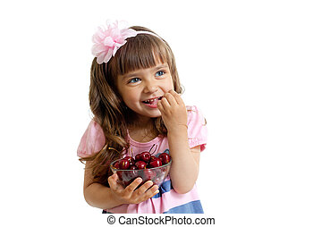 little girl with cherry berries bowl in studio isolated