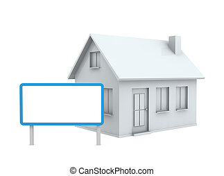 house with a signboard