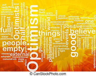 Optimism word cloud - Word cloud concept illustration of...