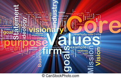 Core values background concept glowing - Background concept...