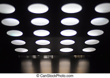 ceiling with spotlights in an elevator