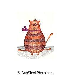 Domestic cat - Cartoon character. Pencils on paper.