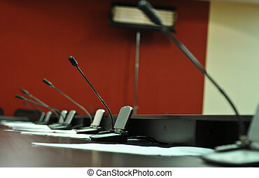 Conference table, microphones close-up