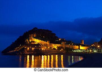 Tossa de Mar in night. Spain - View of Vila Vella castle....