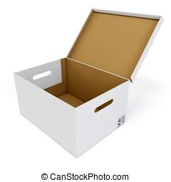 3d empty open blank cardboard box