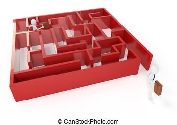 3d man running trough a maze