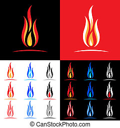 Fire icons collection Illustration on white, black and red...