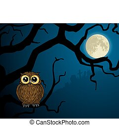 little owl on branch and full moon - Illustration of cute...