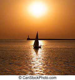 Sail boat against sunset - Sail boat against sea sunset...