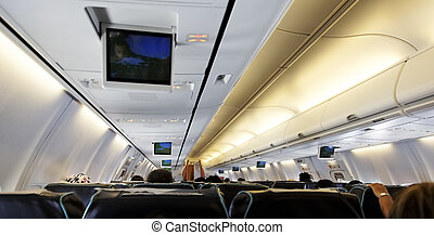 airplane cabin flight lines - June 2011, inside of a...