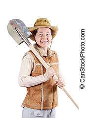 pastoral  woman  with spade