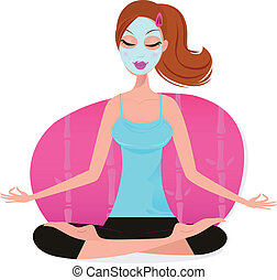Cute young Woman with Facial mask doing yoga pose - pink
