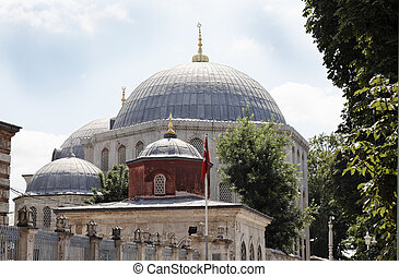 Outside Hagia Sophia Istanbul Turkey main dome - June 2011...