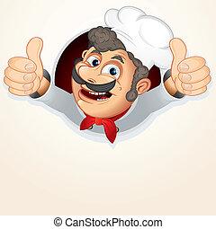 cozinheiro, cozinheiro, mostrando, polegar, cima
