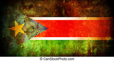 south sudan flag - vintage south sudan very old flag with...