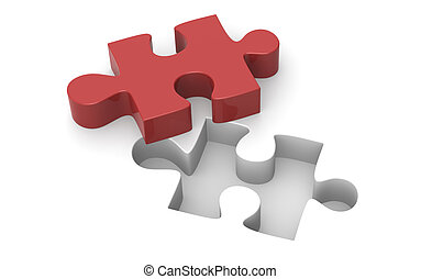 Jigsaw puzzle - A Red Jigsaw puzzle piece.