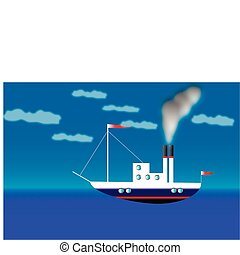 Steamer - Illustration of toy steamer in the sea