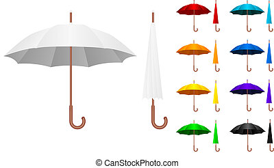 Umbrella set - Realistic illustration of the colored...