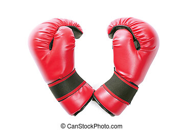 Gloves - Pair of red gloves in shape of heart isolated over...