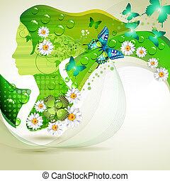 Stylized green portrait