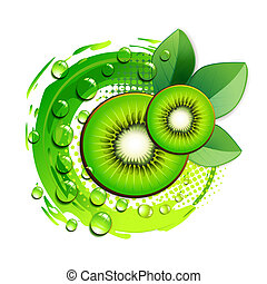 Kiwi slices with abstract background over white background