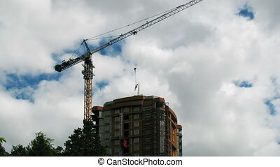 Construction crane working 3 - Construction crane working,...