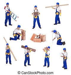 bricoleur, ou, ouvrier, impliqué, différent,...