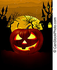 Pumpkin Halloween Card with hanged man EPS 8 - Pumpkin...