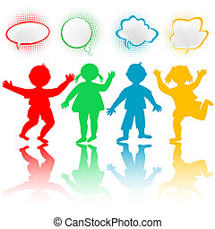 Colored children with chat bubbles
