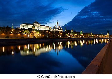 Russia Kremlin and river in the Moscow city - Russia The...