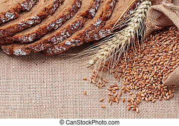 Whole wheat grains and bread