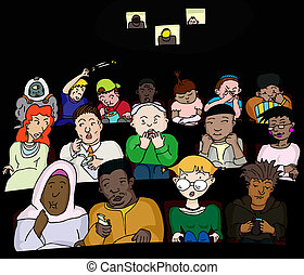 People at the Movies - Group of 16 diverse people in a movie...