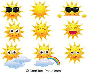 soleil, dessin animé, caractère