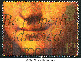 poststamp Gioconda - GREAT BRITAIN - CIRCA 1990: stamp...