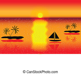Sea with islands and ship on sunset